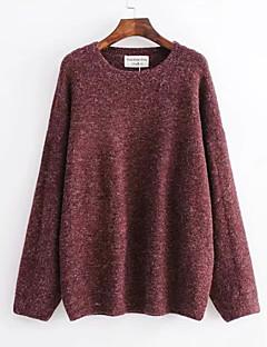 baratos Suéteres de Mulher-Mulheres Diário Básico Sólido Manga Longa Padrão Pulôver, Decote Redondo Cinzento / Vinho / Verde Tropa S / M / L