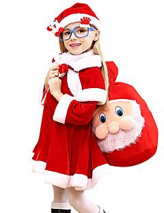 billige julen Kostymer-Nisse drakter Cosplay Kostumer Jente Barne Jul Jul Karneval Barnas Dag Festival / høytid Drakter Rød Ferie