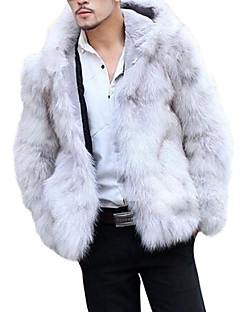 cheap Men's Clothing-Men's Daily / Weekend Winter Regular Fur Coat, Solid Colored Hooded Long Sleeve Faux Fur / Others White / Black / Gray XL / XXL / XXXL