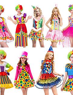 billige Halloween- og karnevalkostymer-Burlesk / Klovn Sirkus Kjoler Party-kostyme Herre Dame Voksne Artig & Underspillet Halloween Jul Halloween Karneval Festival / høytid Polyester Drakter Gul+Blå / Blå+Grønn / Fuksia Polkadotter