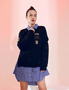 tanie Swetry damskie-Damskie Codzienny Solidne kolory Długi rękaw Regularny Pulower Granatowy Jeden rozmiar