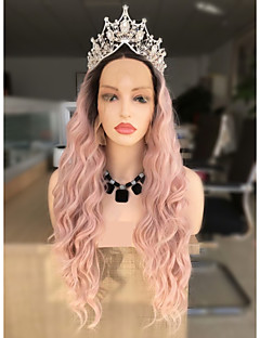 cheap New Arrivals-Synthetic Lace Front Wig Women's Wavy Black Layered Haircut 130% Density Synthetic Hair 24 inch Women / Ombre Hair Black / Pink Wig Long Lace Front Black / Pink Sylvia