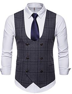 cheap Men's Outerwear-Men's Work Business Spring / Fall / Winter Asian Size Regular Vest, Plaid V Neck Sleeveless Polyester Brown / Dark Gray / Light gray XL / XXL / XXXL / Slim