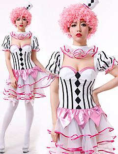 billige Halloween- og karnevalkostymer-Burlesk / Klovn Sirkus Kjoler Party-kostyme Dame Voksne Artig & Underspillet Halloween Jul Halloween Karneval Festival / høytid Polyester Drakter Rosa Stribe