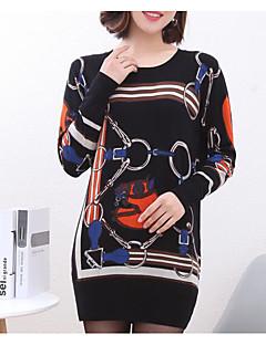 tanie Swetry damskie-Damskie Codzienny Solidne kolory Długi rękaw Regularny Pulower Czarny / Granatowy M / L / XL