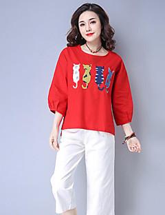 billige T-shirt-Kvinders asiatiske størrelse slank t-shirt - solid farvet rund hals