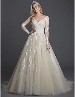 billiga Brudklänningar-A-linje Illusion Halsband Svepsläp Spets / Tyll Bröllopsklänningar tillverkade med Spets av LAN TING BRIDE®