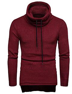 tanie Męskie swetry i swetry rozpinane-Męskie Codzienny Solidne kolory Długi rękaw Regularny Pulower Czarny / Granatowy / Wino L / XL / XXL