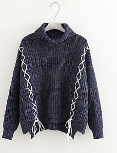 baratos Suéteres de Mulher-Mulheres Diário Sólido Manga Longa Padrão Pulôver Marron / Azul Marinha / Amarelo Tamanho Único