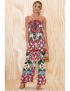 voordelige Strandvakantie-Dames Dagelijks / Strand Street chic Strapless blauw Blozend Roze Jumpsuit, Bloemen Print M L XL Mouwloos