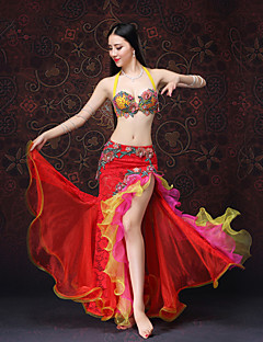 billige Halloween- og karnevalkostymer-Spansk Lady Kostume Dame Voksne Flamenco Halloween Karneval Maskerade Festival / høytid Blonde organza Drakter Rød / Rosa Broderi