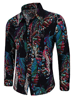 cheap Clearance-US-Men's Vintage / Boho Plus Size Cotton Shirt - Paisley Print Spread Collar / Long Sleeve