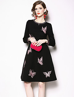 cheap Special Occasion Dresses-A-Line Jewel Neck Knee Length Jersey Dress with Embroidery by LAN TING Express