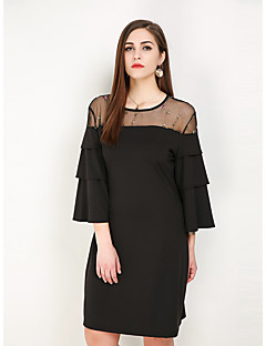 d4e0acac32 Women s Plus Size Daily Weekend Vintage Street chic Petal Sleeves Loose T  Shirt Tunic Dress - Floral Color Block Ruffle Mesh Print Spring Black  XXXXXL ...
