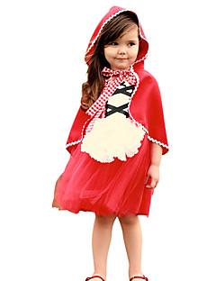 billige Barnekostymer-Rødhette Cosplay Kostumer Jente Barne Kjoler Mesh Jul Halloween Karneval Festival / høytid Tyll Bomull Drakter Rød Blonder