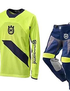 billige Sykkelklær-Herre Langermet Downhill Jersey MTB-shorts - Hvit Grønn Sykkel Klessett sport Bomull Polyester Ensfarget Fjellsykling Klær