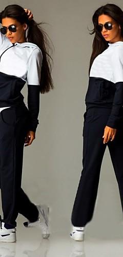 abordables -Femme Mosaïque Survêtement Des sports Mode Sweat à capuche Pantalons / Surpantalons Course / Running Fitness Jogging Manches Longues Grandes Tailles Tenues de Sport Chaud Respirable Anti-transpiration