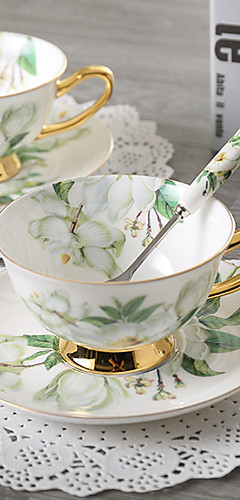 cheap -1 PC Noble Luxury Bone China Coffee Tea Cup And Saucer Spoon Set Ceramic Mug 200ml Advanced Porcelain Tray For Gift Cafe Party