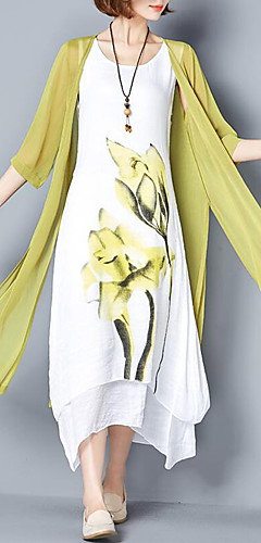 זול -מקסי דפוס, פרחוני - שמלה משוחרר שני חלקים כותנה מידות גדולות סגנון סיני בגדי ריקוד נשים