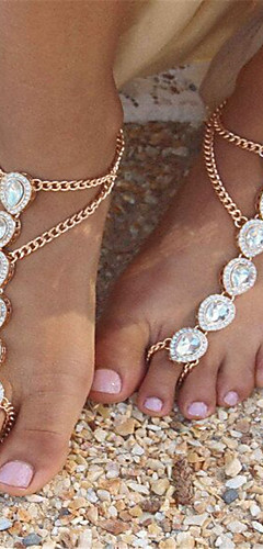 cheap -Women's Pearl Barefoot Sandals Imitation Pearl Drop Ladies Fashion Anklet Jewelry Gold / Silver For Daily Casual / Rhinestone