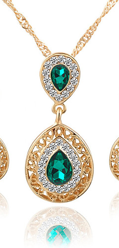cheap -Women's Crystal Pear Cut Solitaire two stone Jewelry Set Crystal, Rhinestone Drop Ladies, Luxury, Dangling, Fashion, Euramerican, Bridal Include Necklace / Earrings Bridal Jewelry Sets Red / Green