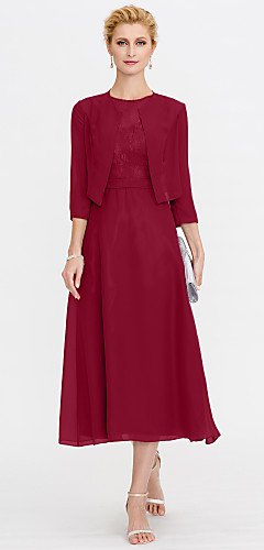 dfffe79205a5 Γραμμή Α Illusion Seckline Κάτω από το γόνατο Σιφόν Δαντέλα κορδόνι Φόρεμα  Μητέρας της Νύφης με Δαντέλα Πλισέ με LAN TING BRIDE®