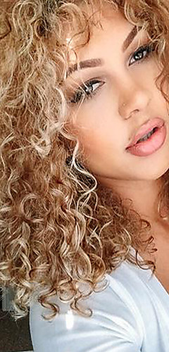 cheap -Synthetic Wig Curly Style With Bangs Capless Wig Blonde Blonde Synthetic Hair Women's Side Part / With Bangs Blonde Wig Medium Length Natural Wigs