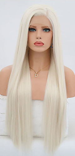cheap -Synthetic Lace Front Wig Straight Style Silky Straight Lace Front Wig Blonde Platinum Blonde Synthetic Hair Women's Natural Hairline Blonde Wig 24 inch / 26 inch / Long Natural Wigs