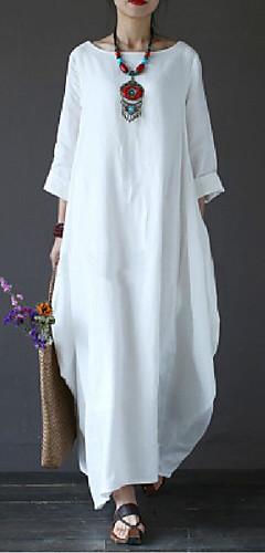 זול -לבן מקסי אחיד - שמלה סווינג משוחרר כותנה מידות גדולות חגים בגדי ריקוד נשים