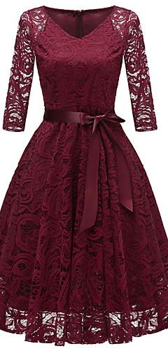 זול -צווארון V עד הברך תחרה פפיון שמלה גזרת A וינטאג' שנות ה-50 Party ליציאה בגדי ריקוד נשים