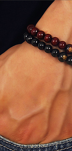 cheap -Men's Beads Bead Bracelet Wooden Buddha Simple Casual / Sporty Bracelet Jewelry Black / Red For Daily Street Going out
