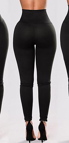 abordables -Femme Lacet Pantalon de yoga Des sports Couleur unie Spandex Taille Haute Leggings Zumba Danse Course / Running Tenues de Sport Push Up Contrôle du Ventre Power Flex Stretch 4 voies Elastique Mince