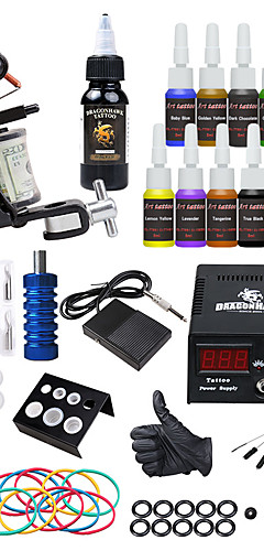 cheap -DRAGONHAWK Tattoo Machine Starter Kit - 1 pcs Tattoo Machines with 15*5 ml tattoo inks, All in One, Safety, Easy to Setup Alloy LCD power supply Case Not Included 1 alloy machine liner & shader