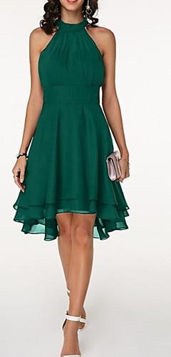 זול -עד הברך שמלה שיפון רזה מידות גדולות בגדי ריקוד נשים