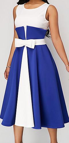 זול -נשים MIDI סווינג השמלה אדום שחור כחול מ ים l xl