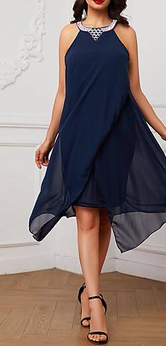 זול -קולר מעל הברך פאייטים חרוזים שיפון שמלה גזרת A סווינג עבאיה רזה בוהו חגים בגדי ריקוד נשים / חוף