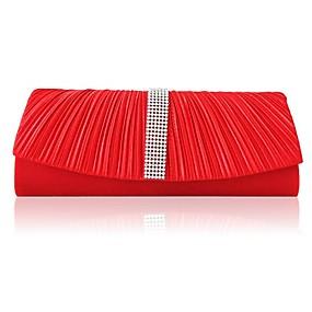 abordables Déstockage-Femme Cristal / strass Satin Pochette Sacs de soirée en cristal strass Argent / Beige / Rouge
