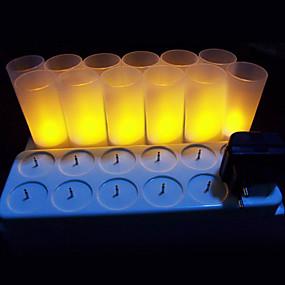 billige Lamper-sett med 12 flameless stearinlys med oppladbar base flimrende led te lyser lys varm gul plast realistisk stearinlys fest dekorasjon te stearinlys med strømforsyning