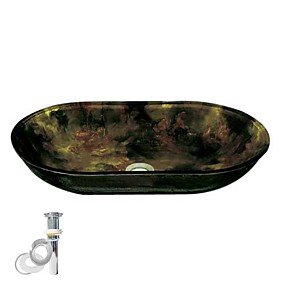 cheap Vessel Sinks-Contemporary Rectangular Sink Material is Tempered Glass Bathroom Mounting Ring Kitchen Water Drain