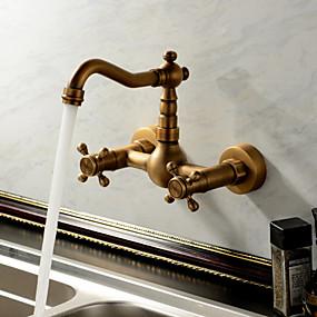 povoljno Sprinkle® slavine-Lightinthrbox Sprinkle® Kuhinjske slavine - Starinski / Tradicionalno Antique Brass Waterfall Two Holes