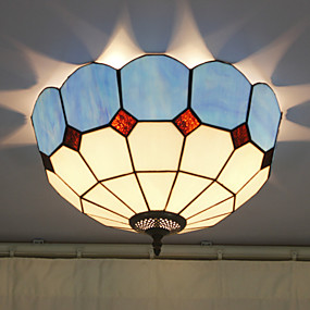 billige Tiffany Lamper-Flush Mount, 2 Light, Tiffany Resin Glass lakkeringsmetode