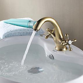 abordables Offres de la Semaine-robinetterie traditionnelle en céramique, un trou, mélangeurs, un trou, cuivre antique, robinets de lavabo pour lavabo
