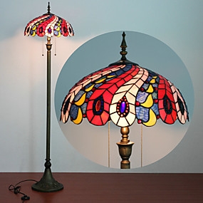 abordables Lampe Tiffany-Lampadaire, 2 Light, Tiffany Resin Process Peinture sur verre