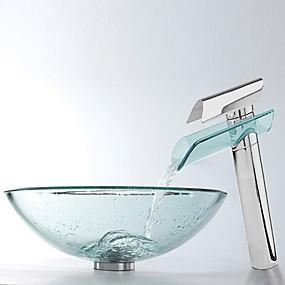 abordables Eviers-Robinet de Salle de Bain contemporain - Verre Trempé Rond Vessel Sink