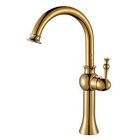 abordables Offres de la Semaine-Robinet lavabo - Rotatif Laiton Antique Vasque 1 trou / Mitigeur un trouBath Taps