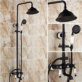 cheap Shower Faucets-Shower Faucet - Antique Oil-rubbed Bronze Shower System Ceramic Valve Bath Shower Mixer Taps / Brass / Two Handles Three Holes