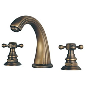 billige Antikk Messing Series-Antikk Udspredt Keramisk Ventil Tre Huller To Håndtak tre hull for  Antikk Messing , Baderom Sink Tappekran