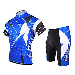 povoljno Rasprodaja-FJQXZ Muškarci Kratkih rukava Biciklistička majica s kratkim hlačama Plava Bicikl Sportska odijela Prozračnost Pad 3D Quick dry Ultraviolet Resistant Sportski Poliester Kolaž Brdski biciklizam