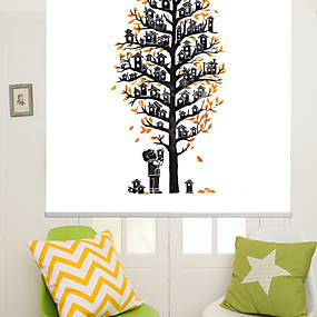 cheap Home Improvement-Artistic Abstract Houses Tree Roller Shade