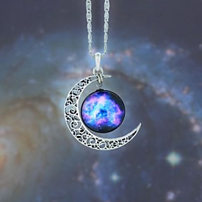 cheap Halloween Accessories & Jewelry-Women's Opal Pendant Necklace Long Necklace Engraved Moon Galaxy Crescent Moon Cheap Magic Ladies European Fashion Hippie Synthetic Gemstones Alloy Blue Red / White Rainbow Necklace Jewelry 1pc For
